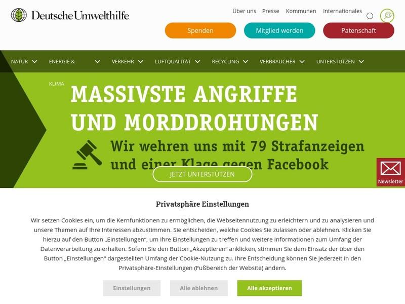 Screenshot von http://www.duh.de/home.html